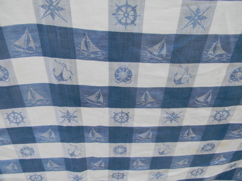 Nautical Sailboat Blue White Checkered Tablecloth