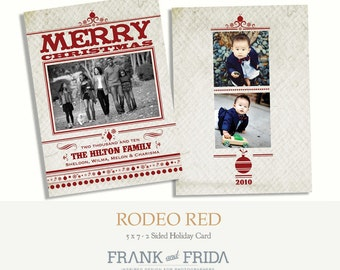 Rodeo Red - Holiday Photo Card Template