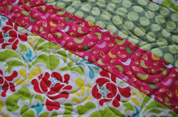 heather bailey red floral full quilt ON SALE