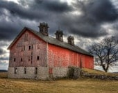 Old Barn - art photography, Red, stormy skies, rural landscape, other sizes available