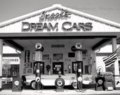 car Photo, black and white art photography, nostalgia, old gas station, car buffs, vintage, dream cars, automobile, good old days, retro