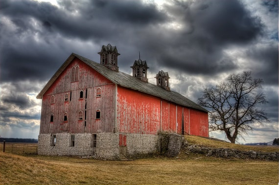 Items similar to Old Barn - art photography, Red, stormy ...