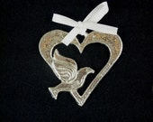 Dove in heart pewter ornament