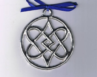 Celtic Knot 4 Hearts Pewter Ornament