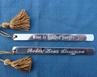 """Pewter Bookmark: """"Wine is bottled poetry."""""""