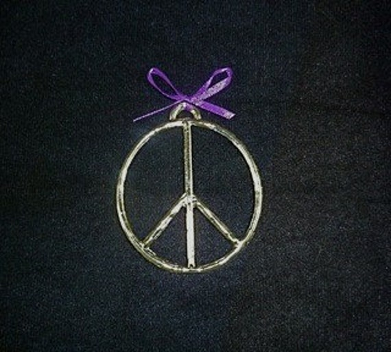 Peace sign pewter ornament
