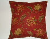 Decorative pillow cover red green yellow bamboo floral 16 x 16