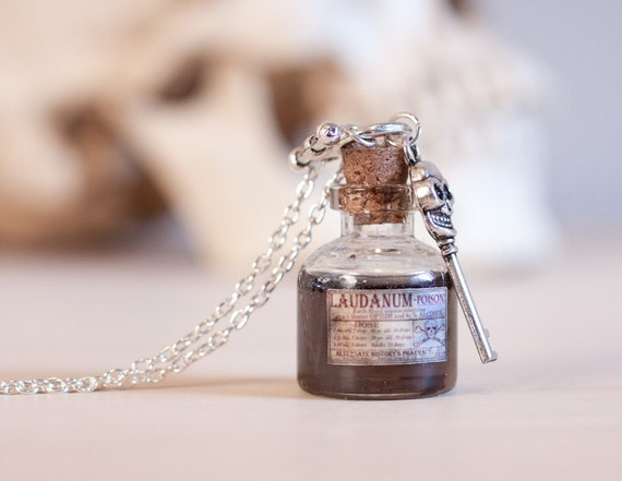 Laudanum / Poison Bottle Necklace - Small Apothecary Labeled Bottle ...