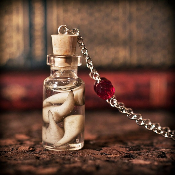 Vampire Fangs in a Bottle Necklace - Corked Bottle with Resin - Cruelty Free