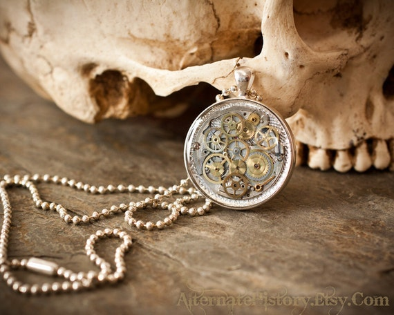 Steampunk Pendant with Chain - Watch Gears and Movement in Resin - Unisex