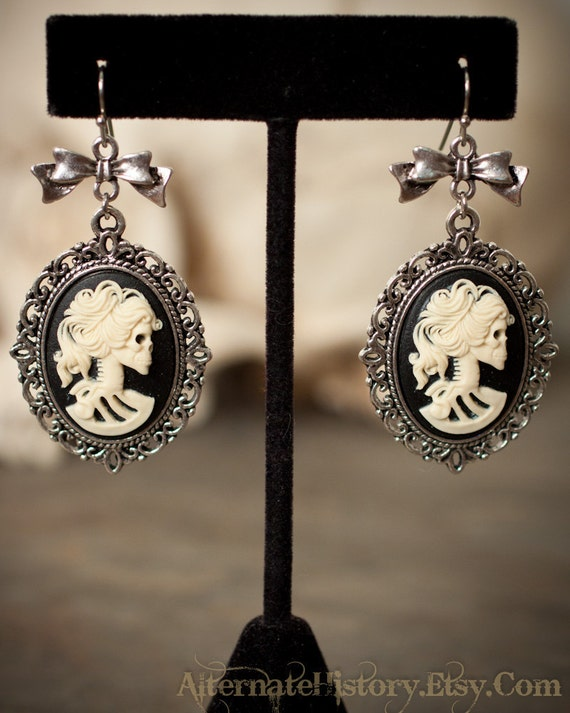 Large Lady Death Cameo Earrings with Bows