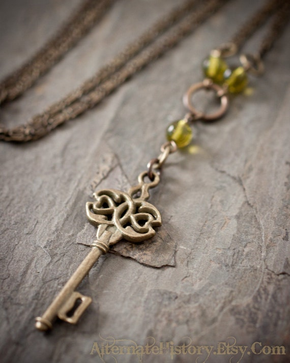 Steampunk Key Necklace - Antiqued Brass with Olive Quartz