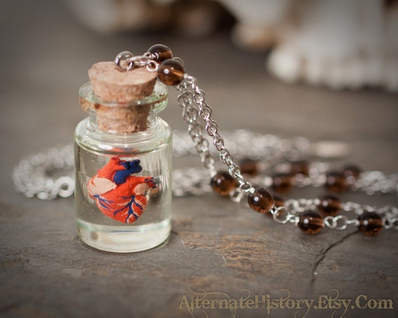 Preserved Human Heart in a Jar - Curiosity Bottle Necklace - Silvertone Beaded Chain