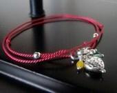 Wrap Bracelet, Christmas Charm, Thin Silk Cord, Sterling Silver Heart, Charm Bracelet, Sterling Silver Puffed Heart, Red Silk