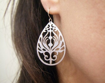 Silver Earrings - Tribal Style Earrings - Tattoo Style Earrings - Winter Wedding - Teardrop Earrings - Silver Garden - Ornate Earrings