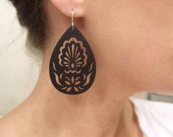 Black Wood Earrings, Laser Cut Earring, Lightweight Wood, Black Matte, Sterling Silver Earwires, Mini Black Garden