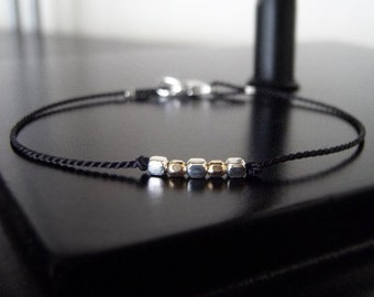 Simple Friendship Bracelet - Simple/Modern Bracelet - Five Squared - Black - w/clasp - Gifts for Her Under 20 #1-011