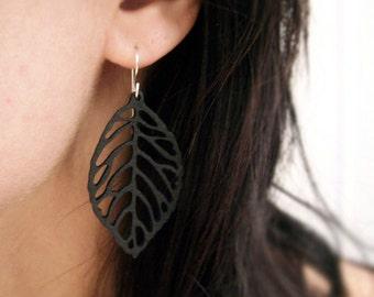 Wood Earrings, Leaf Earrings, Black Leaves, Botanical Jewelry, Woodland Earrings, Fairy Princess