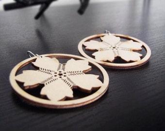 Wood Hoop Earrings - Wood Earrings - Pinwheel - Flower - Natural Colored