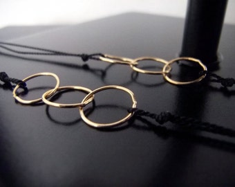 Two Gold Friendship Bracelets - Best Friends - Modern Bracelets - Sister Bracelets - Linked In Golden Trio - Black - w/clasp #1-030