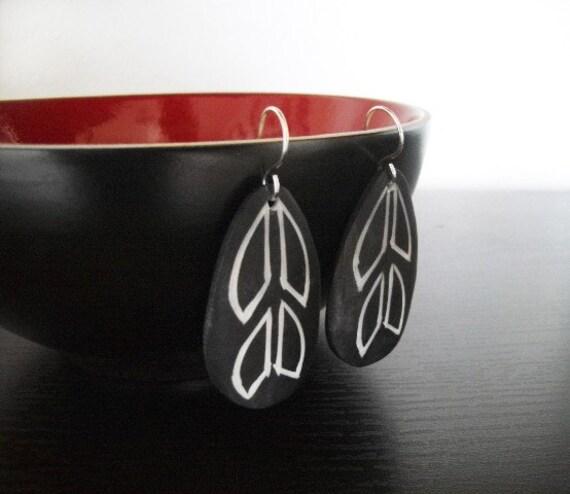 Sale - Naturally Carved Bone Earrings - Flock - Feather Shaped Earrings - Teardrop - Boho Earrings