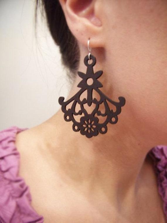 Chandelier Earrings - Gifts for Her under 20 - Wood Earrings - Lazar Cut - Black Wood - Teacher Gift Ideas