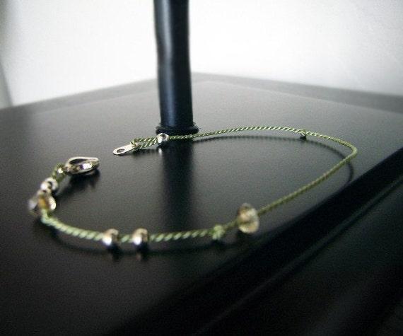 Layering Bracelet - Pairing Bracelet - Beaded Bracelet - Charm Bracelet - sage/silver #1-036
