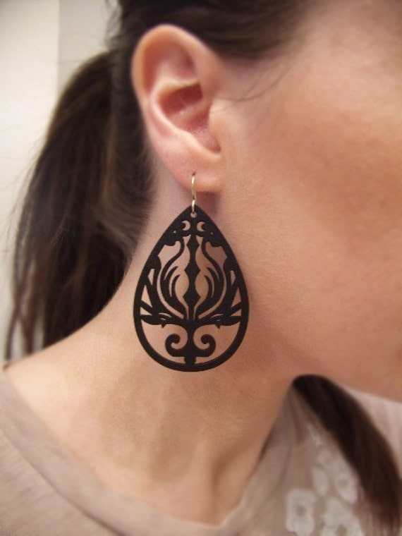 Black Garden - Intricately Carved/Cut Wood Earrings - Matte Black - Gifts for Her Under 20