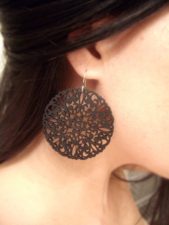 Intricately Carved/Cut Wood Earrings - Great Expectations - Matte Black