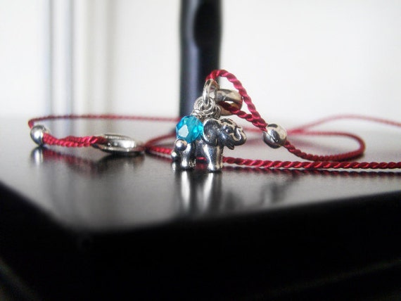 Elephant - Tiny Animal Charm Bracelet - Sterling Silver - Dark Red