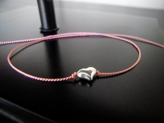 Wish Bracelet - The Original Tiny Puffy Silver Heart - Pink - Limited Quantity