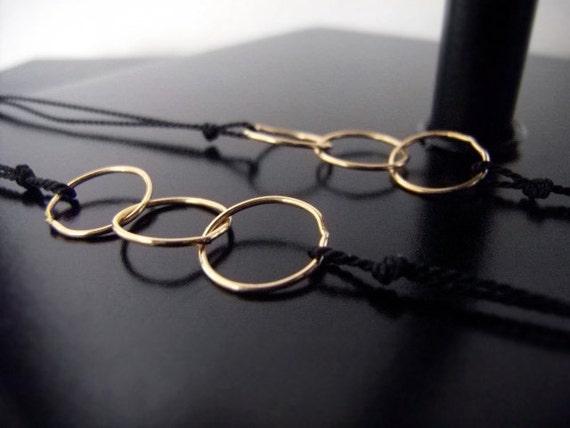 Two Gold Friendship Bracelets - Best Friends - Modern Bracelets - Sister Bracelets - Linked In Golden Trio - Black - w/clasp