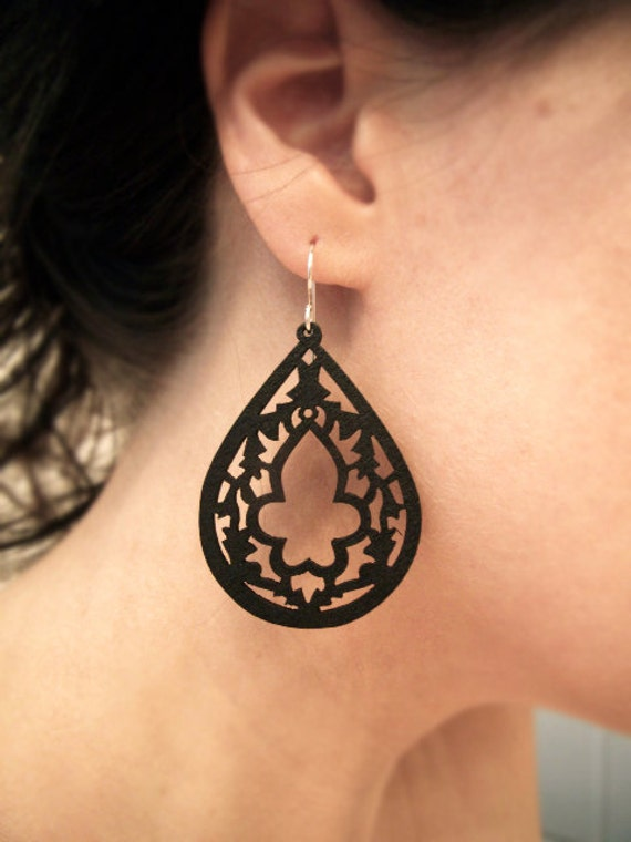 Intricately Carved/Cut Wood Earrings - Black Steeple - Matte Black - Gifts for Her Under 20