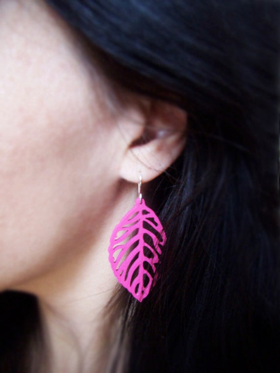 Wood Earrings - Leaf Earrings - Hot Pink - Sterling Silver Earwires - Last Pair - Hostess Gift Ideas