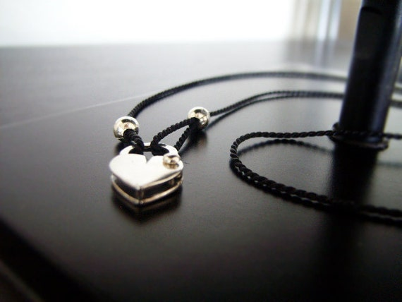 Silver Heart Necklace - Personalize - Lock Me Up - Commitment Jewelry - Working Heart Padlock Necklace - Black Cord - Customizable