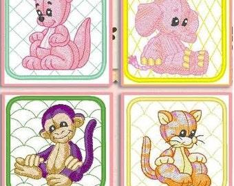 12 Baby Animals Machine Embroidered Quilt Blocks