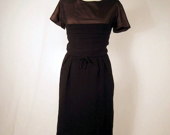 SALE. vintage 60's black pleated silk chiffon, crepe evening dress