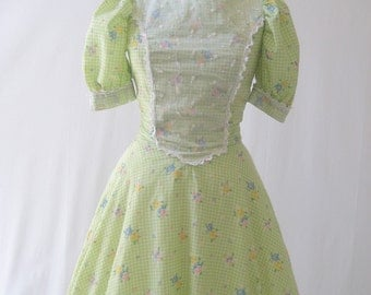 vintage 60's Chartreuse Gingham floral full circle flare long dress