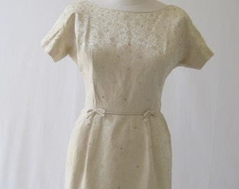 vintage 60's pale Gold Brocade, studded rhinestone wiggle party dress