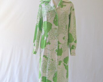vintage Chartreuse Cabbage Rose Hawaiian dress