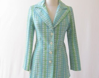 vintage 70's Twiggy aqua/chartreuse textured polyester jacket