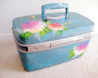 vintage Rose Petal teal train case, upcycled, handpainted,