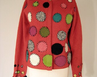 vintage adorable RED SWEATER HOODIE by susan bristol.  patched circles
