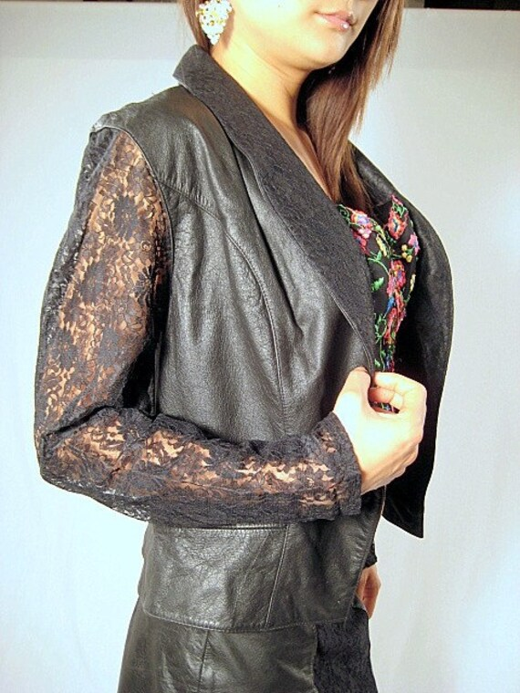 SALE. vintage 80's black leather with lace overlay jacket and  skirt set. size large