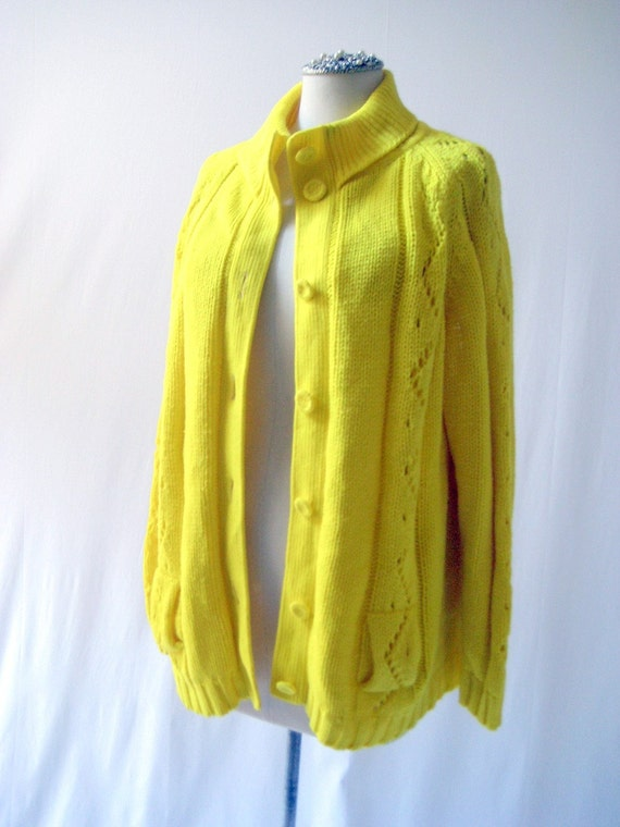 vintage 60's lemon yellow handloomed sweater cardigan, made in Japan