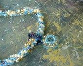 Crochet bead rope with small pendant.Necklace.
