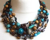 MULTISTRAND NECKLACE in chocolate brown with turquoise wooden glass beads Spring fashion