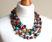 Multi strand necklace fall fashion necklace beaded multicoloured statement