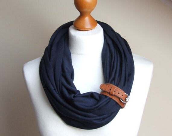 Infinity Fashion Circle Scarf Shawl Loop with leather clasp bracelet jersey marine style scarf