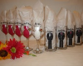 Hand Painted Personalized Bridal Party Wine Glasses - CUSTOM DRESS STYLE - Gift wrapping available